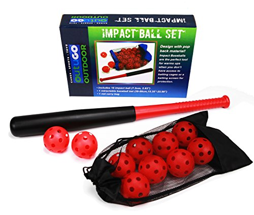 Outugo Sports T Ball Impact Ball Set, 1 Super Baseball Bat Toys and 10 Soft Balls, Carry Bag Included, Classic Outdoor Lawn Party , Kids Game by outugo