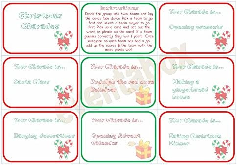 Christmas Charades.Christmas Charades Party Game Children Family Activity Xmas