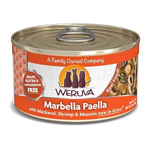 Weruva Classic Cat Food, Marbella Paella With Mackerel, Calamari, Shrimp, Mussels & Pumpkin In Aspic, 3Oz Can (Pack Of 24)
