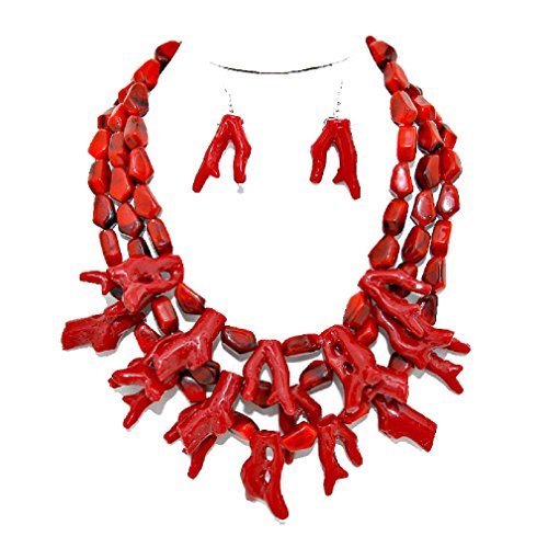 (Affordable Wedding Jewelry Simple Statement Chunky Deep Red Branch Coral Cluster Necklace Earring Set Reef Beach Vibe)