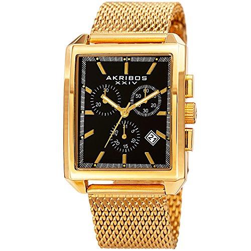 Akribos XXIV Gold Tone Men's Watch – Stylish Stainless Steel Mesh Fashion Band, Chronograph Dials, Quartz Movement - ()