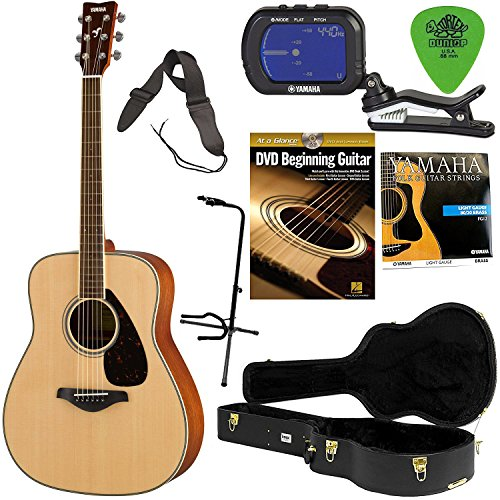 Yamaha FG820 Mahogany Back and Sides Acoustic Guitar Solid Top with Hard Shell Case, Tuner, Guitar Stand, Extra Strings, Strap and Picks - Yamaha Stand Classical