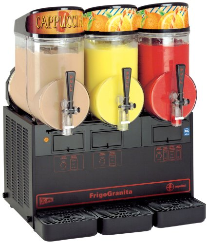 - Grindmaster-Cecilware NHT3ULBL FrigoGranita 3 Bowls in 2.5-Gallon Slush Dispenser, Black