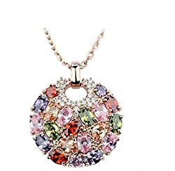 Rose Gold Plated Multi-Color Crystal Pendant