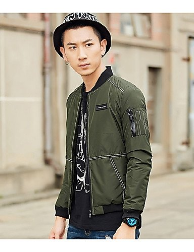 Sleeves Casual SADFSD army green Long Street chic Coat Cotton Daily Solid Men's Padded Acrylic PAqPUX