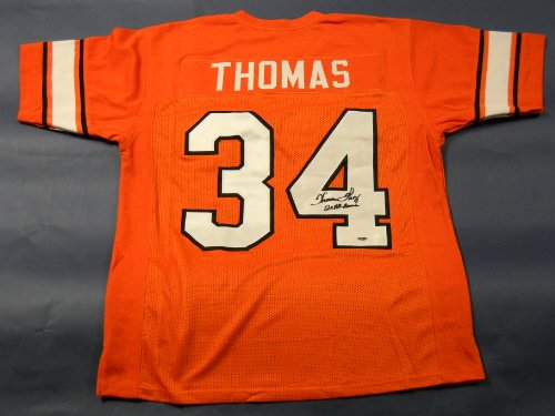 THURMAN THOMAS AUTOGRAPHED OKLAHOMA STATE COWBOYS JERSEY AASH
