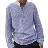 Fastbot Men's Striped Shirt Cotton and Linen Slim Collar Button T-Shirt Long-Sleeved Shirt Blue