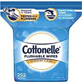 Cottonelle Flushable Wet Wipes, 252 Wipes per Pack, 1 pack, For Adults and Kids, Alcohol Free, Sewer Safe, Septic Safe