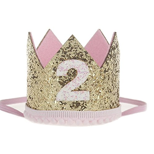Baby Birthday Crown Headwear, Misaky Hairband Baby Elastic Flower Hair Band (Free Size, Z_A)