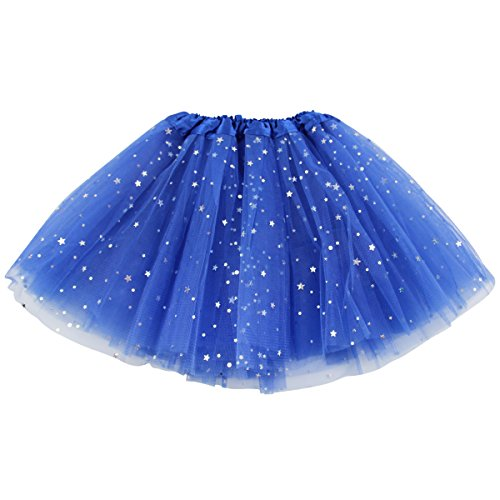 Jastore Girls Layered Stars Sequins Tutu Skirt Princess Ballet Dance Dress (Navy Blue)