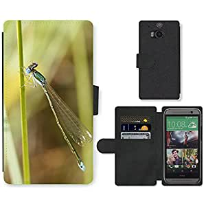 Super Stella Cell Phone Card Slot PU Leather Wallet Case // M00106162 Nehalennia Speciosa Insect Dragonfly // HTC One M8