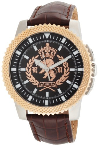 Marc Ecko Men's 'The Collegiate' Quartz Stainless Steel and Leather Casual Watch, Color:Brown (Model: E11596G1