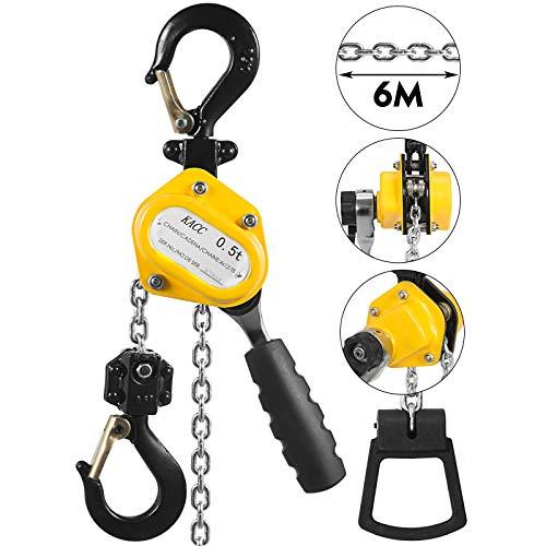 Mophorn 1/2 Ton Lever Block Chain Hoist 6M 20Ft Chain Hoist Alloy Steel G80 Chain Ratchet Lever Hoist with Hook (1/2 Ton 20FT) ()