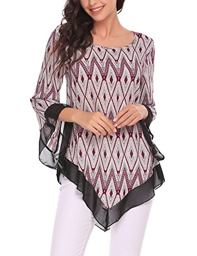 Zeagoo Women's Casual Scoop Neck Long Sleeve Printed Asymmetrical T-Shirt Tunic Chiffon Flare Hem Top Plus Size Wine Red/L