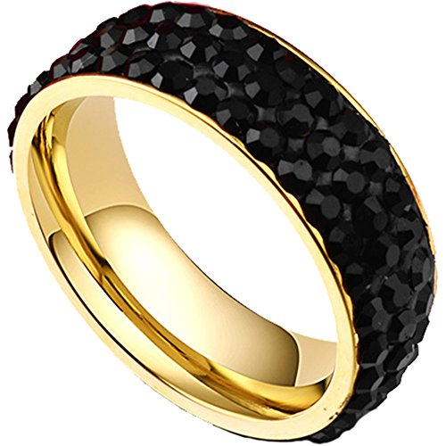 Men Women 7mm Titanium Stainless Steel 18K Gold Pave Black CZ Cubic Zirconia Wedding Band Engagement Ring Size 8