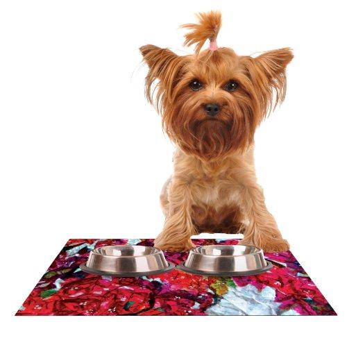 KESS InHouse Mary Bateman Bougainvillea  Feeding Mat for Pet Bowl, 18 by 13-Inch