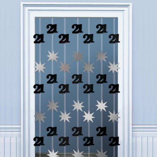 21st Black/Silver Foil Door Curtain