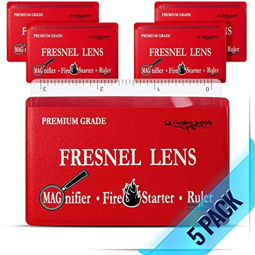 Premium Grade Fresnel Lens Pocket Wallet Credit Card Size • Magnifier • Solar Fire Starter • Ruler - Unbreakable Plastic for Home Office Classroom & Outdoor EDC Survival Kit Bushcraft