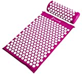 Acupressure Mat & Pillow Set For Back/Neck Pain Relief & Muscle Relaxation Purpl