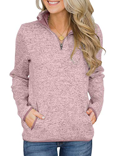 (Arainlo Women Casual Fall Long Sleeve 1/4 Zip Solid Color Pullover Sweatshirt Warm High Collar Tops with Kangroo Pocket Pink S)