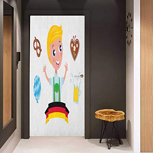Door Sticker German Bavarian Boy with Blonde Hair with Oktoberfest Symbols Beer Balloon and Pretzel Glass Film for Home Office W30 x H80 Multicolor ()