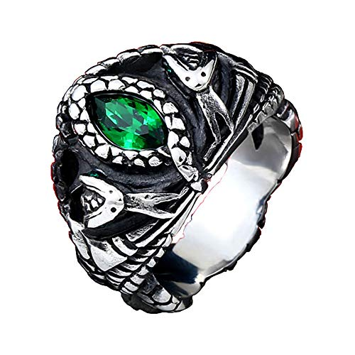 ZMY Mens Jewelry Stainless Steel Ring, Aragon's Green Gem Stone Snake Gothic Rings