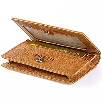 RFID Blocking Credit Card Holder Leather ID Case for Men Pabin Grain Leather Brown