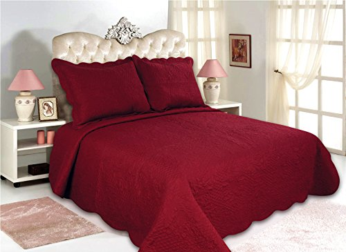 All for You 3-piece Reversible Bedspread/ Coverlet / Quilt Set with embroideries (Deep Red/ burgundy, - Art Burgundy Deep