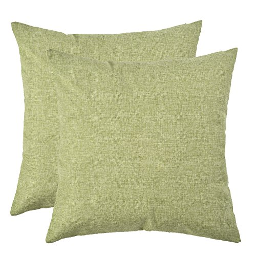 Set of 2, Artcest Decorative Linen Bed Throw Pillow Case, Sofa Durable Modern Stylish, Comfortable Cushion Cover for Couch (Moss Green, 18x18 - Plain Accent