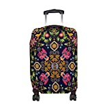 """LAVOVO Square Paisley Floral Print Travel Luggage Cover Spandex Suitcase Cove Protector Baggage Fits 23"""" to 26"""" Luggage"""