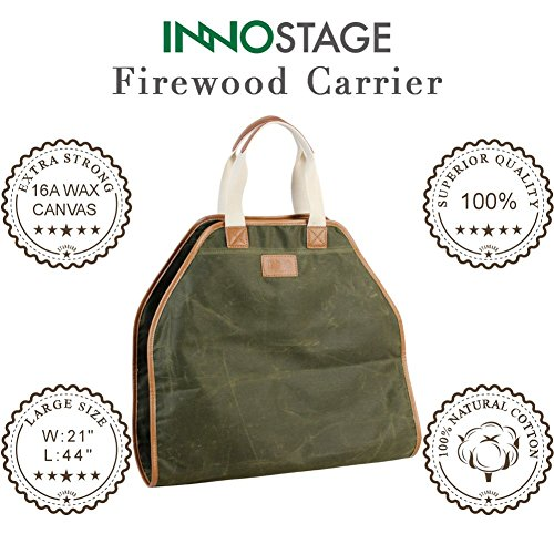 INNO STAGE Canvas Log Carrier Bag,Waxed Durable Wood Tote,Fireplace Stove Accessories,Extra Large Firewood Holder with Handles for Camping Green by INNO STAGE (Image #3)