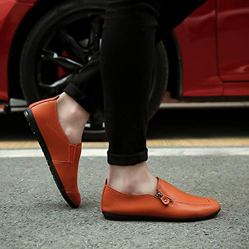 Color Naranja Boca Puntera Superficial De Zapatos Cuero ALIKEEYLos Coser Solido Redonda De Plano Talon Hombres EqAw6Hg