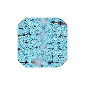 Miao-he 36/72/144pcs 2cm Decorative Rose Foam Artificial Flower Bouquet for Home Wedding Decoration Wreath Fake Flower,Light Blue,12pcs 53