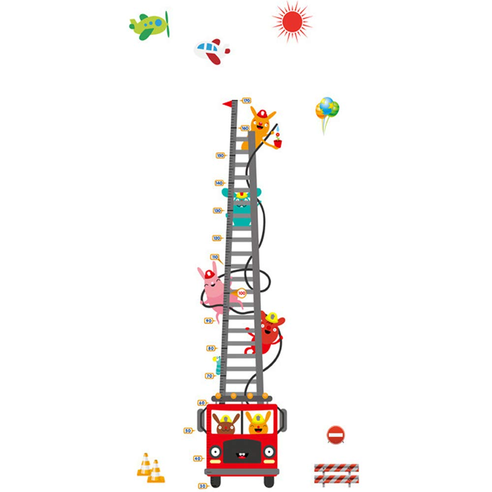 DNVEN (35 w x 71 h Rabbits on Fire Truck Cars with Animals Children Grows up Height Measurement Growth Chart Measures with Quote Wall Stickers Decals for Kids Room