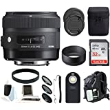 Sigma 30 mm f/1.4 Art Lens for Canon with Backpack Accessory Bundle