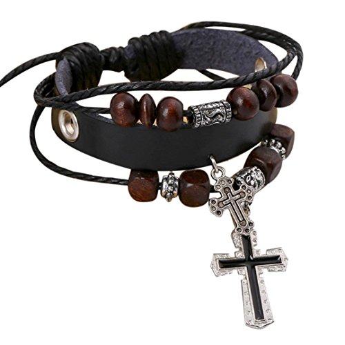 Hemlock Multilayer Cross Pendant Bracelets Bangle, Women Girls Handmade Wristband Beads Chain Bracelets (Black-1) - Sterling Silver Small Beaded Cross