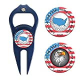 Hat Trick Openers 6-in-1 Golf Divot Tool & Poker Chip Marker Set with USA Logo, Navy