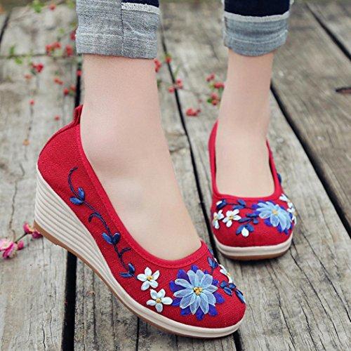 Wind Baumwolle Flachs Nationaler Schuhe Steigung Damenschuhe Bottom HKFV Rot mit Damen Stickerei Casual Leinen Keil Rib bestickten Damenschuhe bestickte PBRqw6