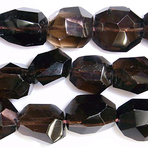 TheTasteJewelry 13x14mm Nugget Straight Cut Smoky Quartz Beads 15 inches 38cm Jewelry Making Necklace Healing Smokey Quartz Bead Necklace