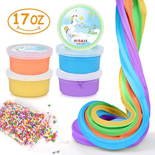 MerryXGift 17 OZ Jumbo Fluffy Slime Set Scented Fluffy Floam Slime Stretchy Slime Toy for Kids Adults - 5 Colors (Orange, Blue, Green, Purple, Yellow)