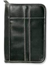 Distressed Leather-Look Black with Stitching Accent XL Book and Bible Cover
