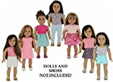 """Toys : American Girl Doll Clothes Wardrobe Makeover- 7 Complete Outfits, Fits 18"""" Doll Clothes- by PZAS Toys"""