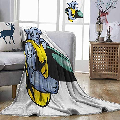 (Homrkey Super Soft Lightweight Blanket Shark Grumpy Surfer Shark with Muscled Body Exotic Sports Mascot Cartoon Fuzzy Blanket W40 xL60 Pale Blue Yellow Jade Green)