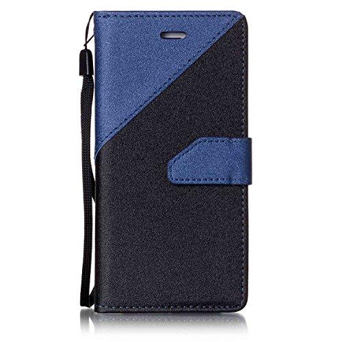 告発者ポーズ貨物iPhone 7 専用 レザー 風 手帳型 ケース カード入れ 付き ストラップホール付 横開きスタンド アイフォン7 スマホ カバー二つ折り iPhone 7 ケース (iPhone7 4.7 インチ, ダークブルー)