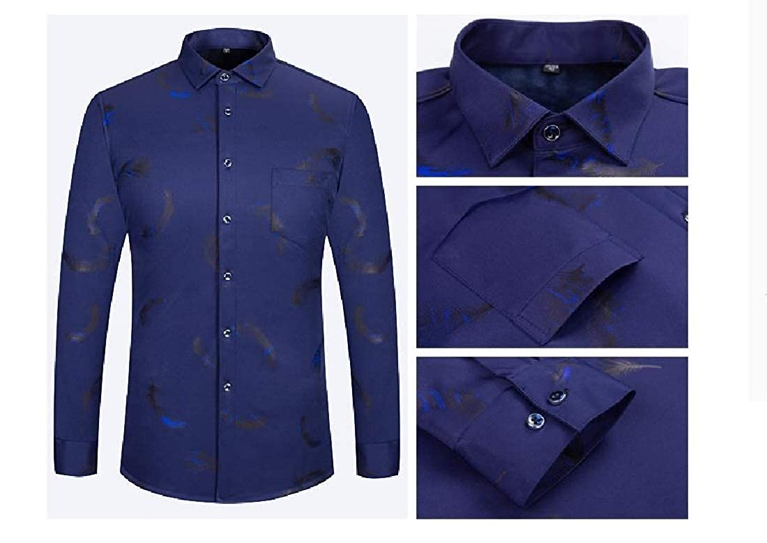 Vska Mens Long-Sleeve Shirts Warm Fit Stretch Classic Dress Shirt