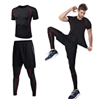 lixada 3 Pcs Men's Workout Set w/T-Shirt, Shorts and Leggings
