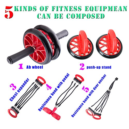 EXEFIT Exercise Resistance Bands,Ab Wheels,Chest Expander,Push Up Stand,Leg and Arm Trainer Fully Body Fitness Exercise Workouts 5 in 1 set.(RED)