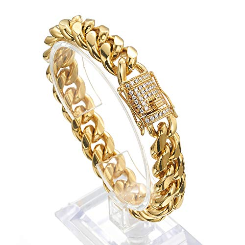 Jxlepe Mens Miami Cuban Link Chain 18K Gold 15mm Stainless Steel Curb Necklace with cz Diamond Chain Choker (9, Bracelet) ()