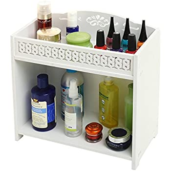 2 Tier White Bathroom Shelf Rack, Countertop Storage Organizer Shelving Unit