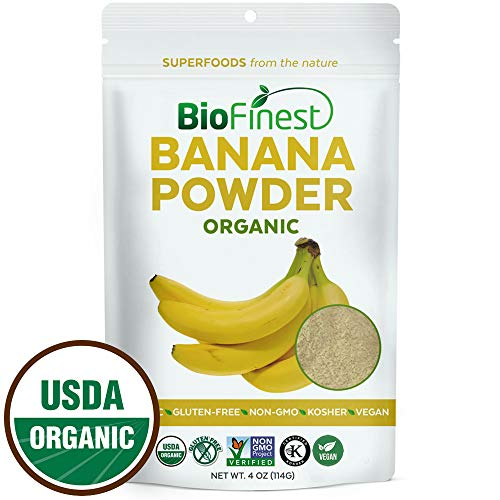 Biofinest Banana Powder - 100% Pure Antioxidants Superfood - USDA Certified Organic Kosher Vegan Raw Non-GMO- Boost Digestion Weight Loss - Fresh Fruit for Smoothie Beverage (4 oz Resealable Bag)